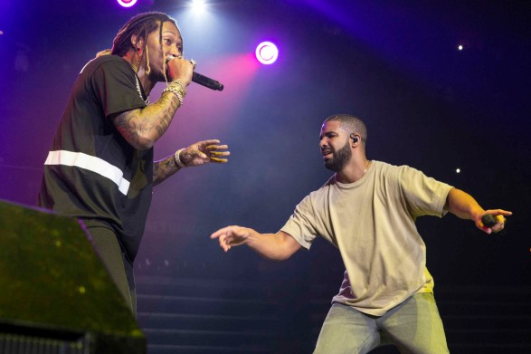 Future and Drake perform during the Hot 107.9 Birthday Bash 20 at Philips Arena on Saturday, June 20, 2015, in Atlanta. (Photo by Katie Darby/Invision/AP)