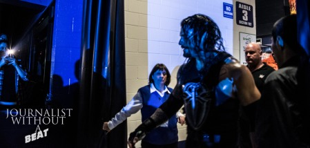 Roman Reigns enters the Allstate Arena