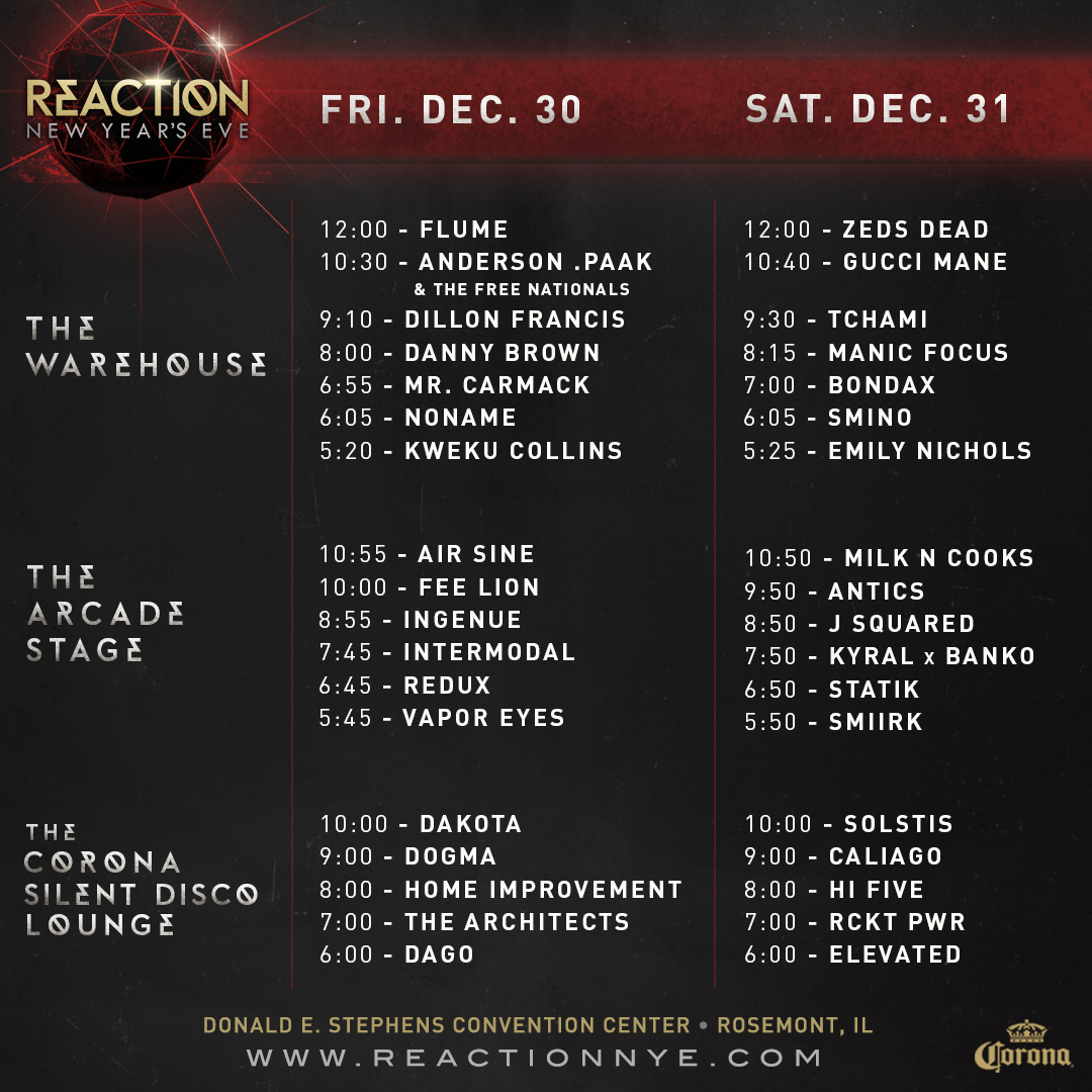 Reaction NYE 2016 Set Times