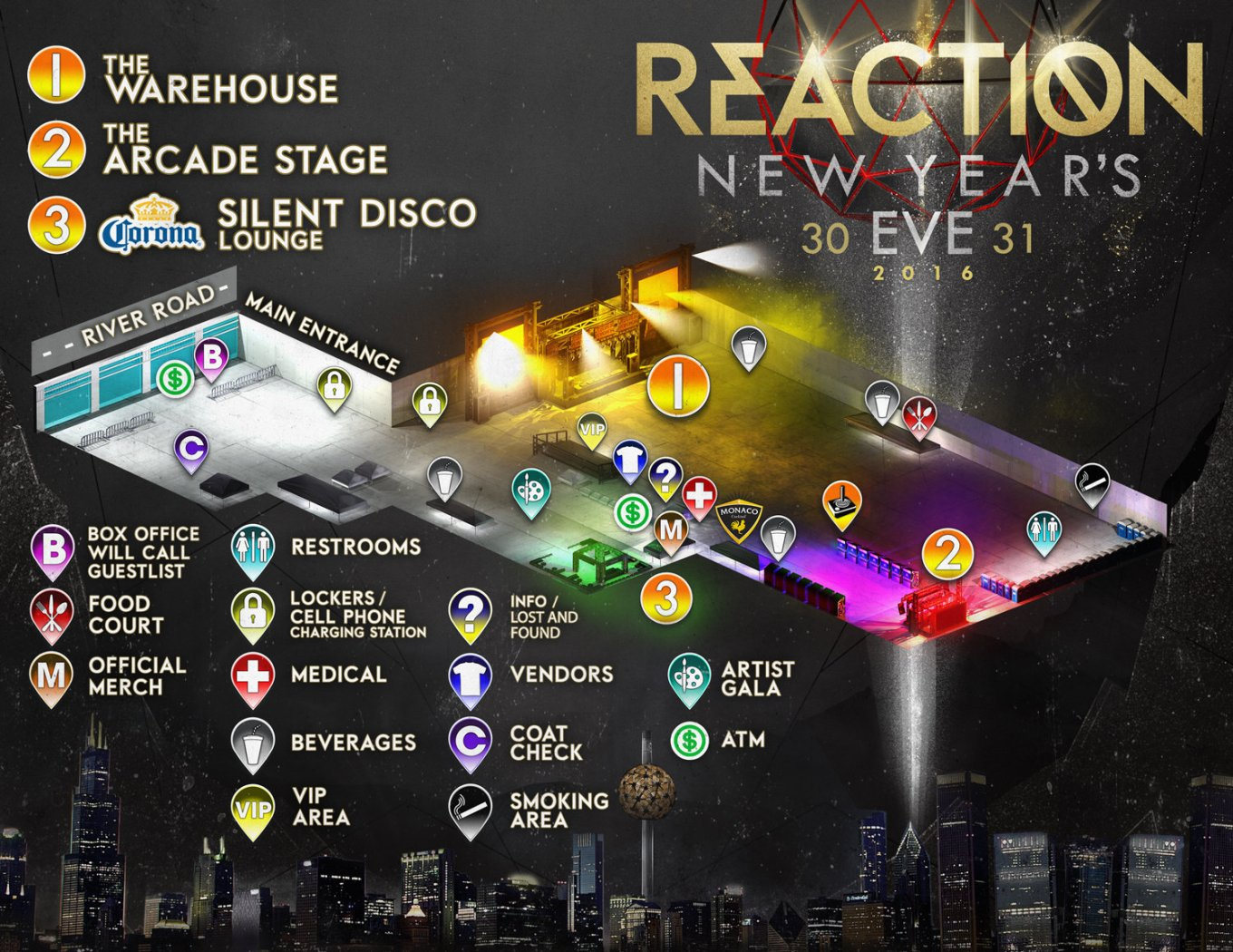 Reaction NYE 2016 Map